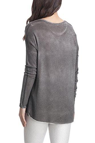 Laura Moretti - Asymmetrischer und feinen Pullover mit Slogan und Stern Grau