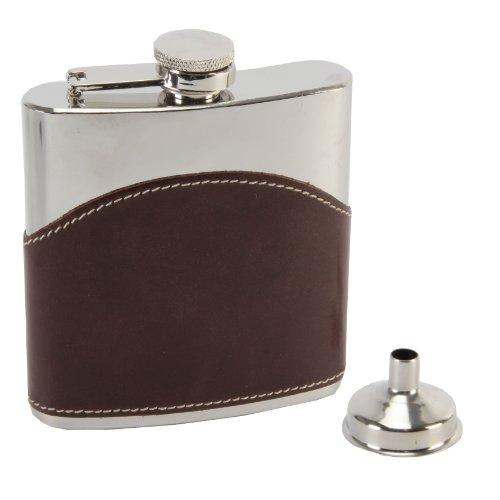 Harvey Makin Flachmann 6Unze Kapazität mit Braun hochwertigem Leder Overlay mit Trichter (Box) (Braun-overlay)