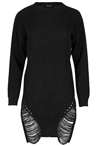 Fashion Star Ladies Chunky Knitted Oversized Jumper Womens Destroyed Ripped Baggy Mini Dress
