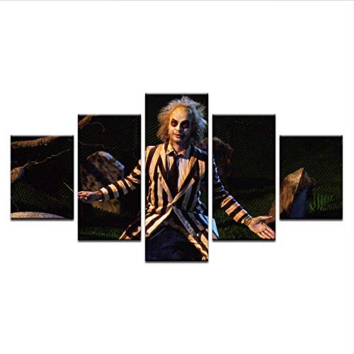 Wuwenw Alte Film Leinwand Malerei Horror Moive Poster Home Decor Wandbilder Für Wohnzimmer 5 Stücke Große Hd Modular Bild, 16X24 / 32/40 Zoll, Ohne Rahmen