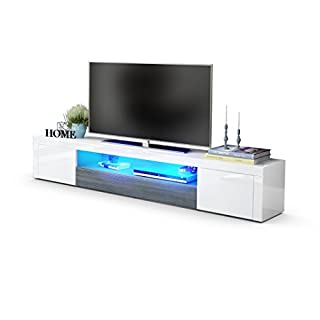 TV Unit Stand Santiago V2, Carcass in White High Gloss / Front in White High Gloss and Avola-Anthracite with LED lighting