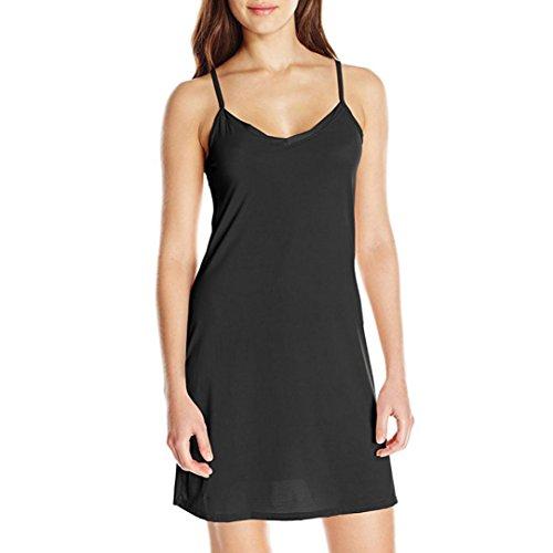 Damen-Kleid Sling BURFLY Women Solide Kleider über dem Knie-Kleid-lose T-ShirtParty-Kleid O-Ansatz Tunika-Kleid über dem Knie-Kleid-Minikleid (XXL, Schwarz) (Knie-boot Pailletten)