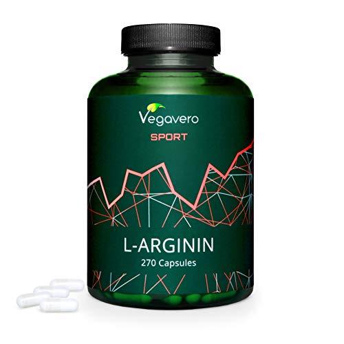 L - ARGININA 700 mg Vegavero® Sport | 270 Capsule | Purezza Certificata | Integratore Pre Workout | Pump e Crescita Muscolare – Massa - Resistenza – Vasodilatatore | Vegan