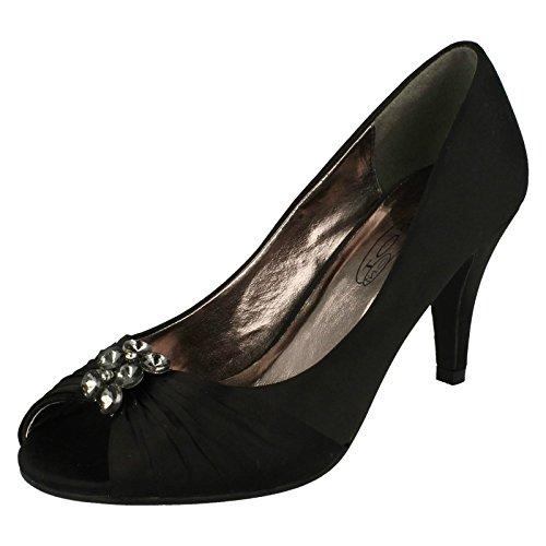 Spot On Ladies Mid Heel Peeptoe Court Shoe – Black Textile – UK Size 6 – EU Size 39 – US Size 8