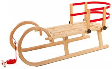 Pinolino Hörnerschlitten Schlitten aus Holz mit Zugseil & Rückenlehne