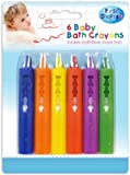 First Steps Pack of 6 Baby Bath Crayons for Fun in Bath - Non Toxic Bath Toys