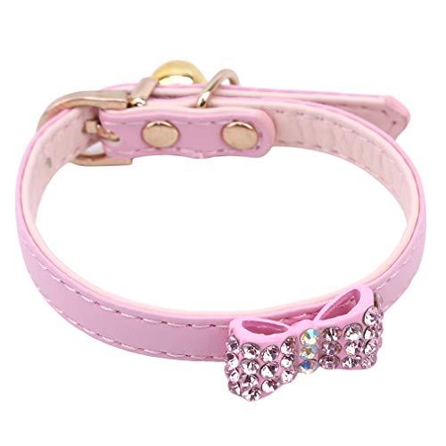 Yinew Hundehalsband einstellbar niedlichen Bogen Hundehalsband mit Glocke Mode Welpen Katzen Halskette Kostüm Outfits Zubehör, rosa, M