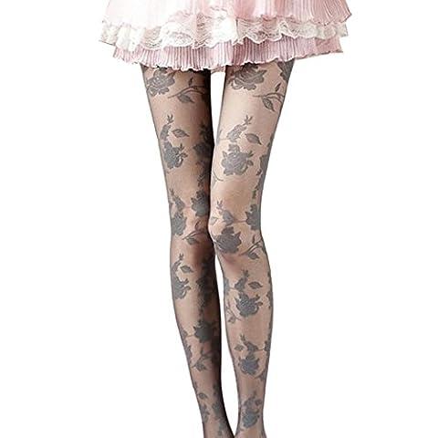 Damen Rose Sexy Strumpfhosen Transer® Spandex+Spitze Schiere Transparente Strumpfhosen Höhe: 145-166cm (Gestreifte Verbandsmull)