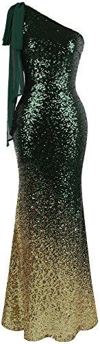 Angel-fashions Damen Asymmetrisch Band Allmählich Paillette Meerjungfrau Lange Ballkleid (S, Grün Gold) - Abend-formale Kleider Damen