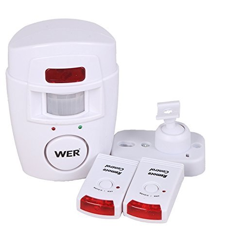 WER WIRELESS PIR MOTION SENSOR ALARM + 2 REMOTE CONTROLS SHED HOME GARAGE CARAVAN 2-PACK
