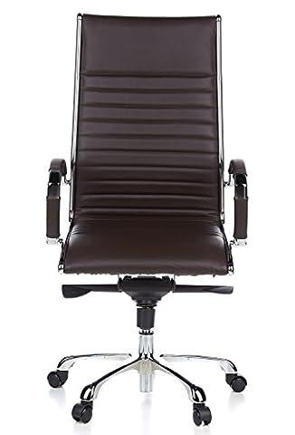 hjh OFFICE 660520 chaise de bureau, fauteuil de direction PARMA 20 marron en cuir véritable pour un usage intensif, avec accoudoirs en acier chromé, dossier haut et inclinable, piètement en alu