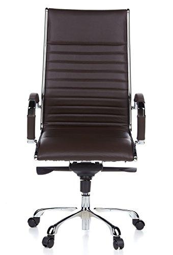 hjh OFFICE 660520 Bürostuhl Chefsessel PARMA 20 Leder braun, design Klassiker, hochwertige Verarbeitung, hohe Rückenlehne, Schreibtischstuhl ergonomisch, Büro Sessel, Drehstuhl, XXL Chefsessel