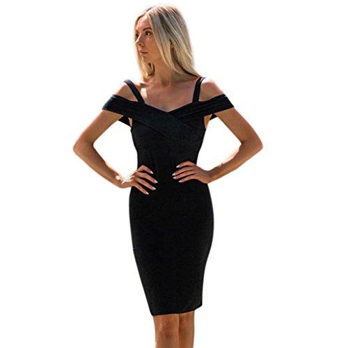 SCHLUSSVERKAUF Mode Damen Bezaubernd Solide Elegant Formal Ballkleid Party Abschlussball Brautjungfer Abend Maxikleid (XL, Schwarz) (Split-jeans-rock)