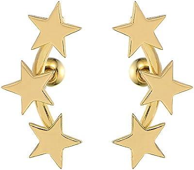 2 Oro Tres Estrellas Pendientes para Mujer Niñas, Acero Inoxidable
