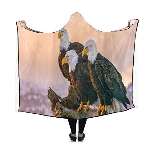 Yushg Mit Kapuze Decke DREI amerikanische Weißkopfseeadler Barsch auf Decke 60 x 50 Zoll Comfotable Hooded Throw Wrap -