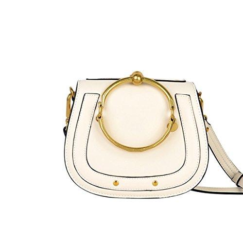 GSHGA Damen Echtes Leder Tasche Runde Ring Armband Handtasche Schulter Crossbody Sattel Retro Tasche,White (Gucci-tasche)