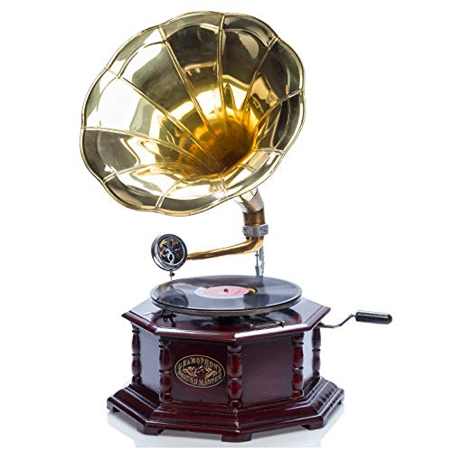 #06 GRAMMOFONO Grammofono a tromba con piatto in ceralacca stile classico
