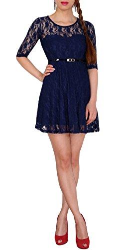 Sodacoda Damen Spitzen-Kleid - Süßes Prinzessin Mini Kleid 3/4 Arm - EXTRA KURZ - (XL (40), Marine Blau)