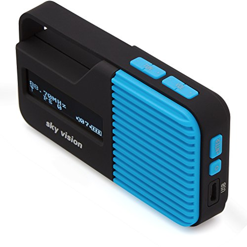 Sky Vision DAB Radio 11 B - Kleines, tragbares Mini Digital Radio, Outdoor, DAB+, FM/UKW Tuner, USB Ladefunktion (Blau)