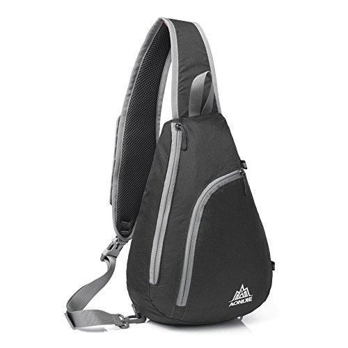 LaTEC Unisex Sling Bag borsa da petto ottima tracolla per escursioni in bicicletta, corsa, trekking, arrampicata, viaggi, 10L (Nero)
