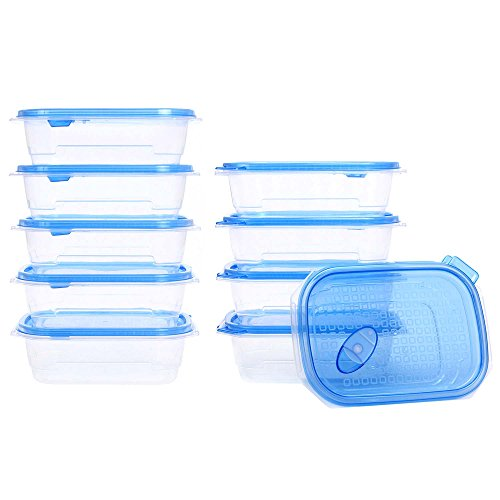 MyChoice Couvercle hermétique à encliquetage MyChoice Boîte de 10 contenants de 750 ml pour aliments - Étanche au lave-vaisselle allant au congélateur et au four à micro-ondes