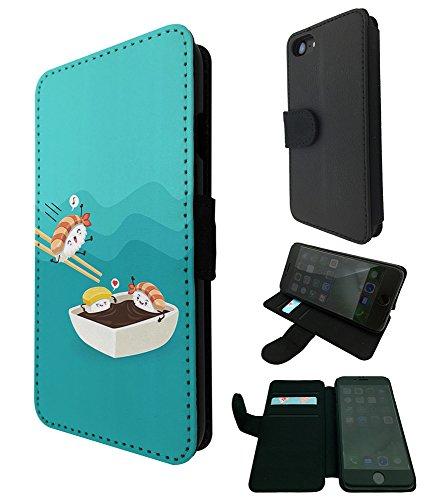 003636 - Kawaii Sushi Japanese Food Design iphone 5 5S / iphone SE 2016 TPU Leder Brieftasche Hülle Flip Cover Book Wallet Credit Card Kartenhalter Case