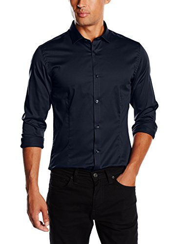 JACK & JONES PREMIUM Herren Slim Fit Business Hemd Jjprparma Shirt L/s Noos, Gr. Large, Blau (Navy Blazer/Super Slim)