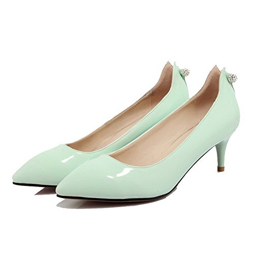 AllhqFashion Femme Mosaïque Pu Cuir à Talon Correct Pointu Tire Chaussures Légeres Vert