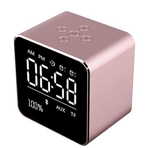Funk-Uhr Wireless Bluetooth-Lautsprecher Mini-Würfel tragbarer Lautsprecher mit LCD-Display Stereo-Subwoofer mit eingebautem Mikrofon für iPhone 6/6S/7 Plus/iPad/iPod Mini(Roségold)