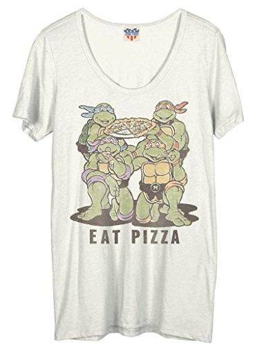 (Junk Food Teenage Mutant Ninja Turtles Eat Pizza Damen Weiß T-Shirt (Small))