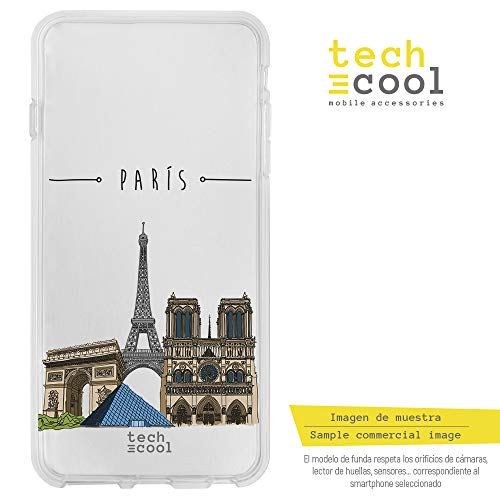 Funnytech BQ Aquaris X5 Plus Hülle SchutzHülle Soft TPU Silikon Transparent für BQ Aquaris X5 Plus l Case, Cover, Handy, High Definition Druck [Monumentos París Fondo transparente]