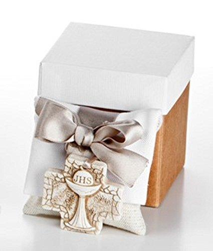 Bomboniera linea SACRI con Sacchetto BUSTA e CALAMITA PRIMA COMUNIONE con confetti, inserita in elegante SCATOLA REGALO