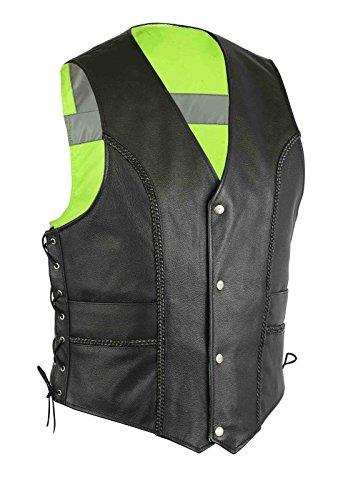Reversible echtes Leder Beide Weise Hallo Viz Sicht-Bikers-Weste-Jacken-Reflektor-beiläufiges geschnürtes - Size = 5X Large (Leder Reversible)