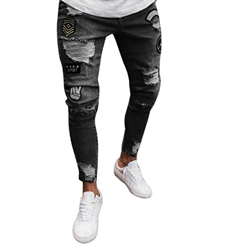 LuckyGirls Pantalones Vaqueros Hombres Rotos Pitillo Originales Slim Fit Skinny Pantalones Casuales Elasticos Agujero Pantalón Personalidad Jeans de Insignia (S, Gris Oscuro)