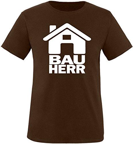 Luckja Bauherr Herren Rundhals T-Shirt Braun/Weiss