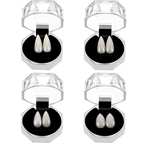 4 Paia Halloween Denti da Vampiro Protesi di Zanne Vampiro Denti Falsi con Scatola di Immagazzinaggio per Cosplay Halloween Festa a Tema Bomboniere Foto Prop Giocattolo di Trucco, 4 Dimensioni