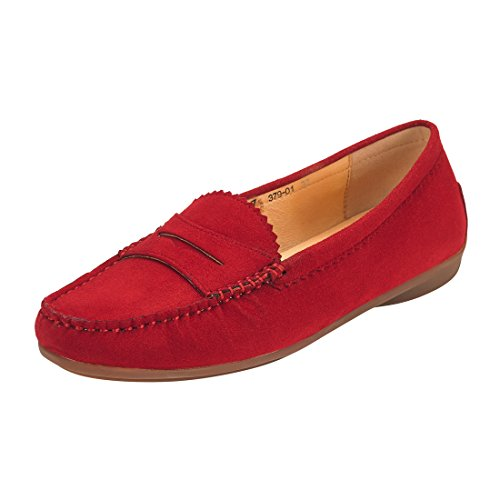 JENN ARDOR Mocassini in pelle scamosciata per donna: Vegan Leather Slip-On Comfortable Mocassini da guida Borgogna