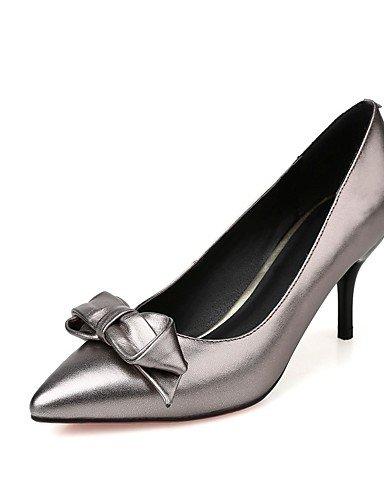 WSS 2016 Chaussures Femme-Bureau & Travail / Décontracté-Rouge / Gris-Talon Cône-Talons / Bout Pointu-Chaussures à Talons-Cuir gray-us5 / eu35 / uk3 / cn34