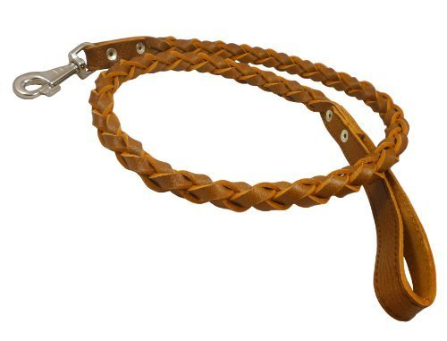 4-thong Round Fully Braided Genuine Leather Dog Leash, 4 Ft x 3/4