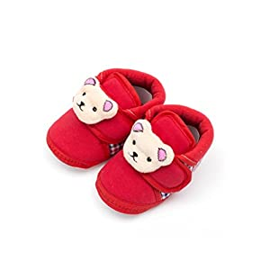 Infano Teddy Style Check Printed Baby Shoes (3-9 months,1 Pair)