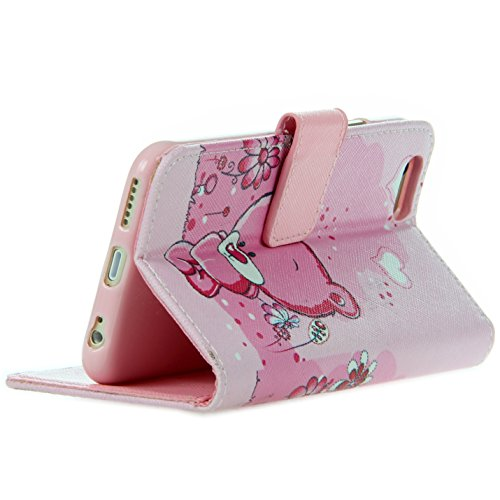 Handy Lux® Schutz Hülle Tasche Kartenfächer Flip Case Etui Cover Involto Motiv Design Hülle BookStyle (Apple iPhone 5 / 5S / SE, Gameboy) Bear Rosa