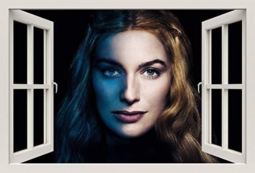 Unified Distribution Game of Thrones - Lena Headey Cersei Lannister - Wandtattoo mit 3D Effekt, Aufkleber für Wände und Türen Größe: 92x61 cm, Stil: Fenster