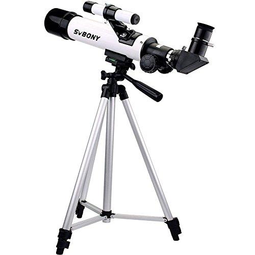 SVBONY SV25 Telescopio Refractor Astronómico 420/60mm Terrestre con Trípode para Astrónomos y Niños Ideal para los Principantes (Blanco)