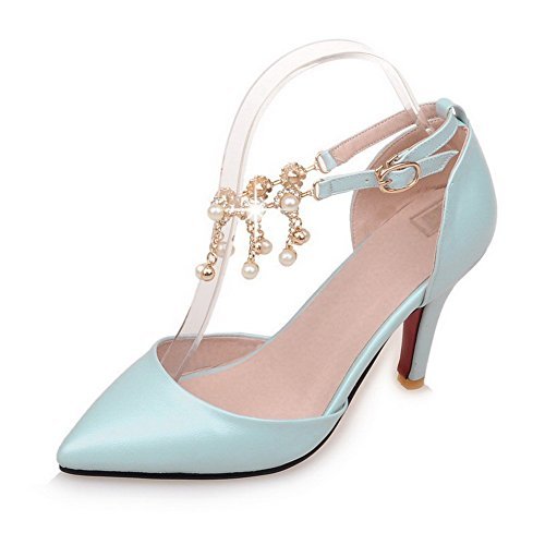 AllhqFashion Femme Pointu à Talon Haut Matière Souple Couleur Unie Boucle Chaussures Légeres Bleu