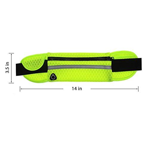 Cinghia in esecuzione Fanny Pack Pouch Designer, leggero e duraturo Borsa a tracolla durevole per allenamento con fessura per il trasduttore auricolare grande per la corsa a piedi in bicicletta Fitnes Verde