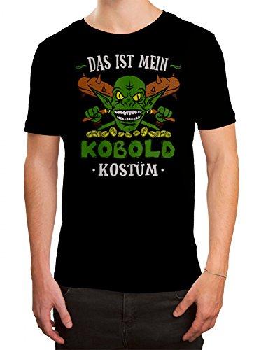 Kostüm Kobold Premium T-Shirt | Verkleidung | Karneval | Fasching | Herren | Shirt, Farbe:Schwarz (Deep Black L190);Größe:M (T-shirt Kobold-grün)