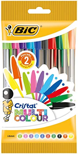 BIC Cristal Multicolor - Bolsa de 10 bolígrafos con 10 colores distintos, dos de ellos fluorescentes