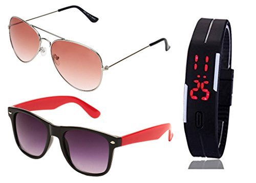 SHEOMY SUNGLASSES 2 COMBO OF SILVER ORANGE AVIATOR SUNGLASSES AND WAYFARER RED BLACK SUNGLASSES WITH TPU BAND RED LED DIGITAL BLACK DIAL UNISEX WATCH Best Online Gifts