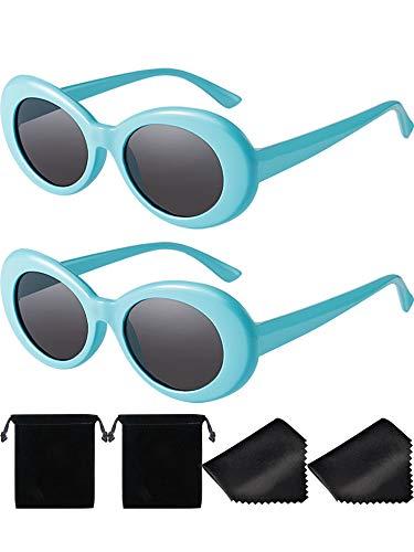 2 Paare Dicker Rahmen Kurt Cobain Brille Schlagkraft Oval Runde Mod Brille Retro Sonnenbrille mit 2 Linse Tuch 2 Brillen Tasche (Himmelblau)