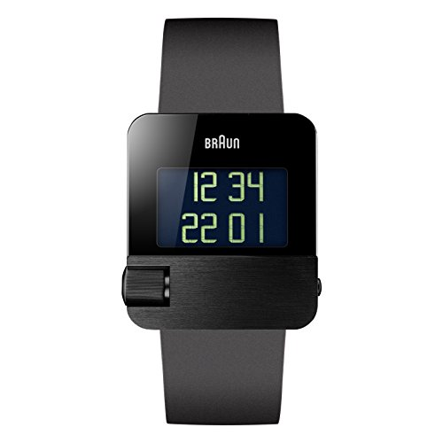 Braun Men's Quartz Watch with Black Dial Digital Display and Black rubber Strap BN0106BKBKG